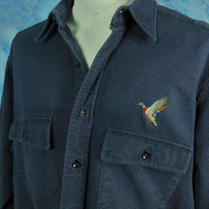 LL Bean 17.5 Tall XL Blue Chamois Shirt Duck Embroidered Hunting Flannel USA #LLBean #ButtonFront