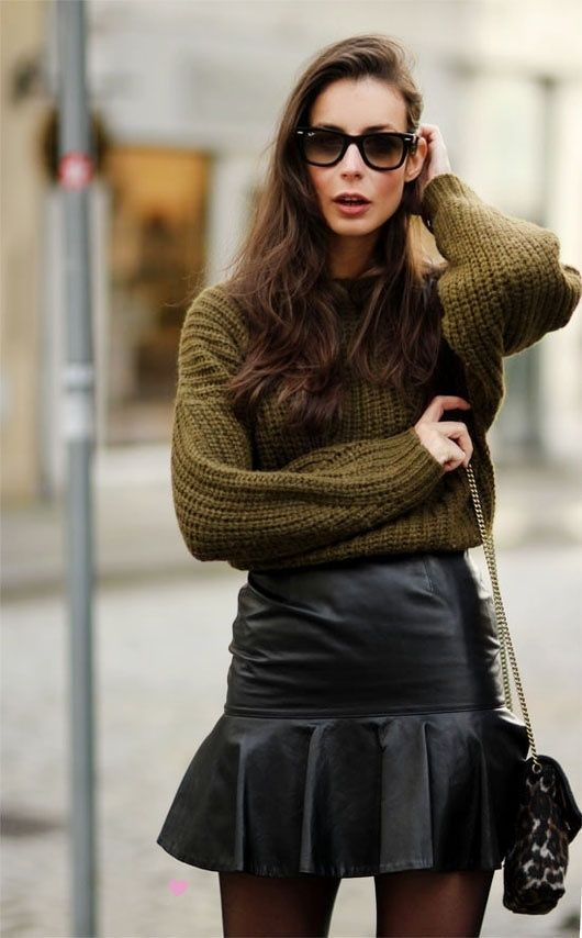 olive sweater and leather skirt sweater weather