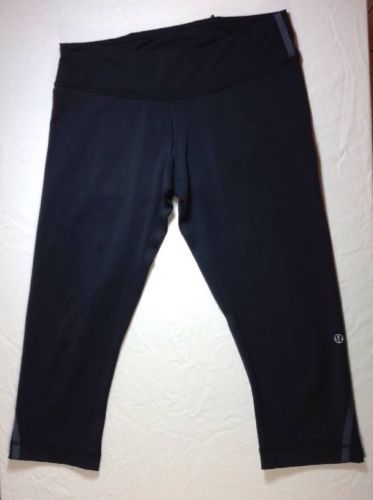 Lululemon Crop Leggings 8 Womens Capri Pant Workout Yoga Stretch Black