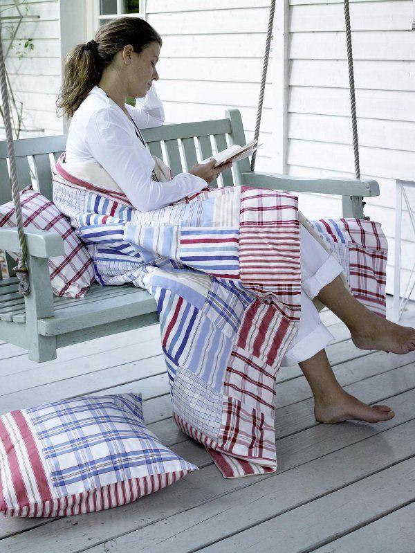 Tolle Ideen für das Farbduo Blau-Weiß - Patchworkdecke-und-Kissen