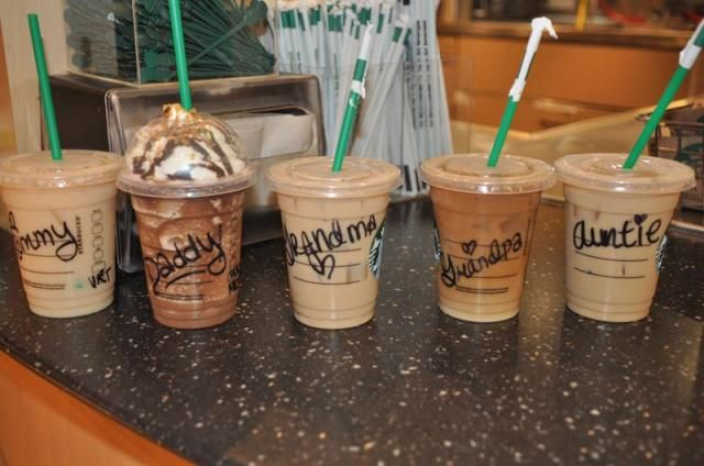 "Breaking the news to family...  Starbucks cups with ""Grandma,"" ""Grandpa,"" ""Auntie,"" ""Mommy,"" and ""Daddy"" on them.  Pretty cute idea for pregnancy announcement"