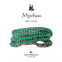 Mychau - Bracciale Vietnam originale realizzato con Agata Verde (Argento) naturale su base bracciale col. Marrone