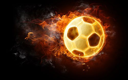Pictures of Soccer Balls with Flames and Dark Background