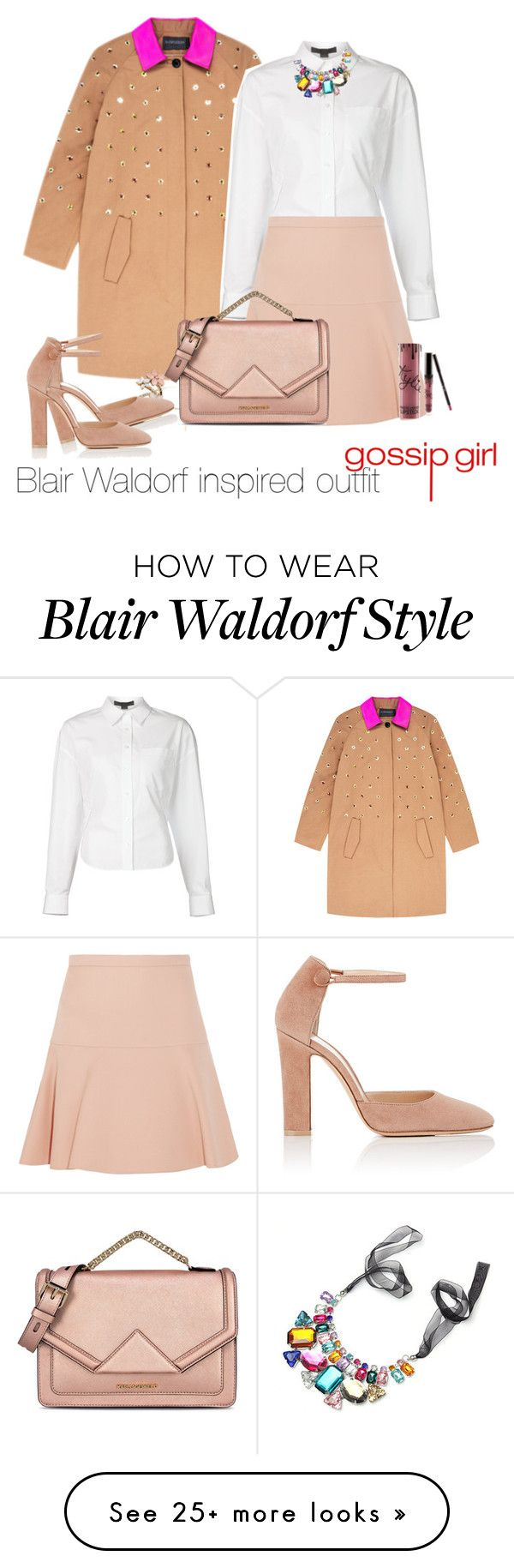 """Blair Waldorf inspired outfit/GG"" by tvdsarahmichele on Polyvore featuring Alexander Wang, Miu Miu, Accessorize, Kylie Cosmetics, Gianvito Rossi and Karl Lagerfeld"