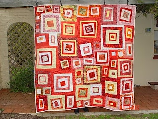 wonky red square quilt tutorial