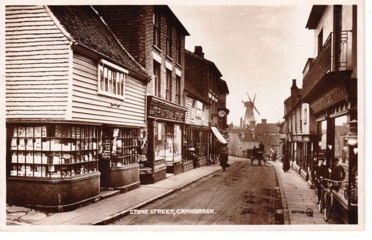 RP Early CRANBROOK Stone Street - shops, houses, windmill, people, horse & buggy | eBay