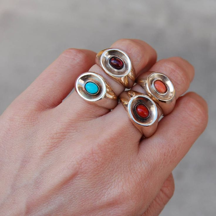Boho rings, Red coral ring, Kreitto jewels, Turquoise ring, Garnet ring, Oval stone ring, Mix and Match rings, Curve ring, Handmade ring.. by kreitto on Etsy
