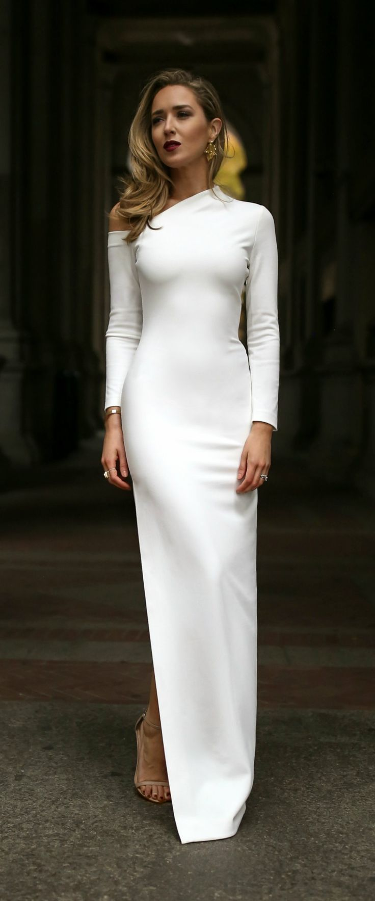 8ae5aedb4a0d Brides Rehearsal Dinner Outfit // White long sleeve cold shoulder crepe  maxi dress, nude