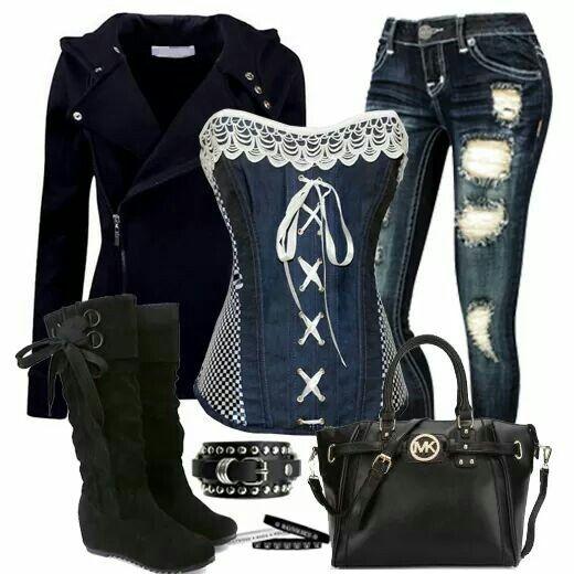 Jean corset with black accessories