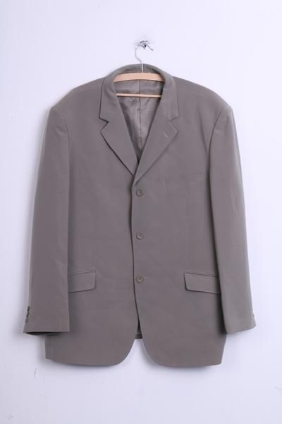 DEVICE Mens 44 XL Blazer Top Suit Grey Single Breasted Elegant