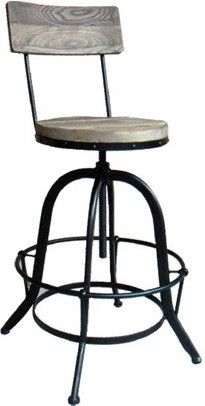 Industrial Metal and Timber High Back Stools .