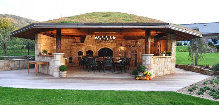 Outdoor kitchen with a grass roof