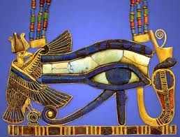 The wedjat eye is perhaps the best known of all Egyptian protective amulets. The drop and spiral below the eye imitate the markings on a lanner falcon, the bird associated with the god Horus. The name wedjat means 'the sound one', referring to the lunar left eye of Horus that was plucked out by his rival Seth during their conflict over the throne. The restoration of the eye is variously attributed to Thoth, Hathor or Isis. The injury to the eye and its subsequent healing