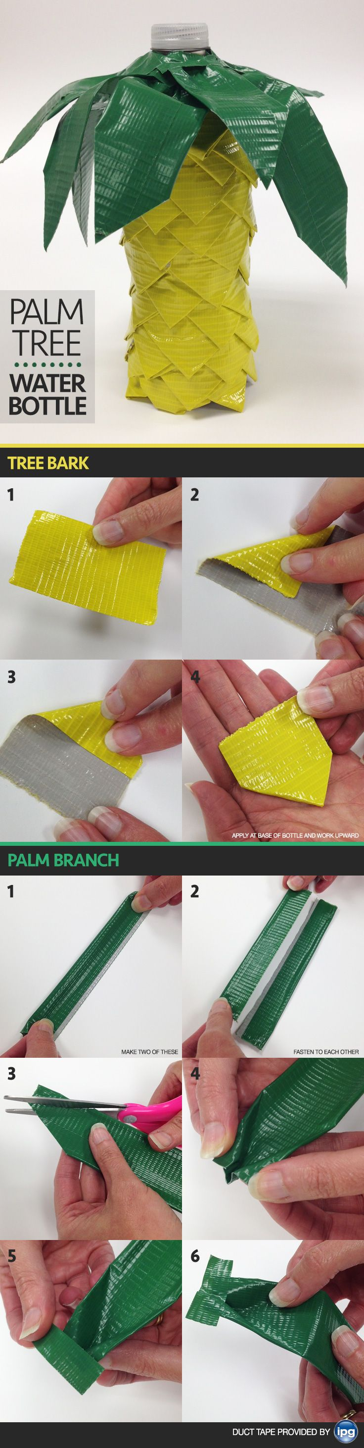 """Tropical party favors made with duct tape. Use a tall water bottle for a palm tree or a short water bottle for a pineapple! (10-20 minute craft). Search """"IPG duct tape"""" for affordable tape. #DIY"""