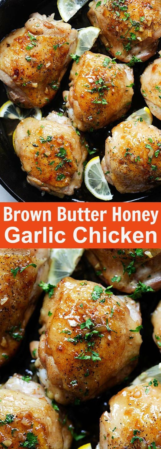 Brown Butter Honey Garlic Chicken - sweet, savory and sticky skillet chicken with the most delicious honey garlic sauce. Easy dinner for the family | rasamalaysia.com