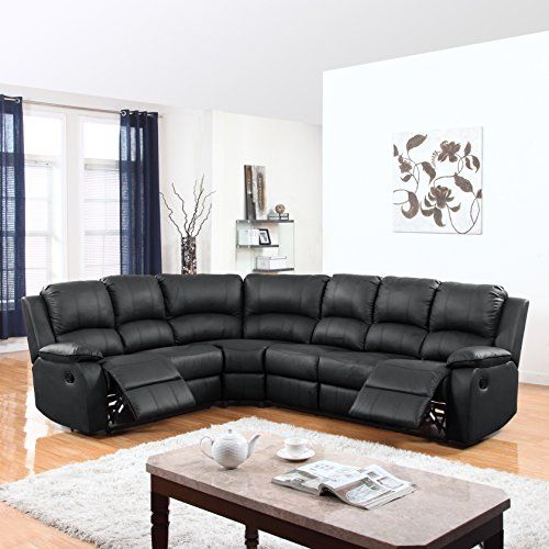 large classic and traditional bonded leather reclining corner sectional sofa black