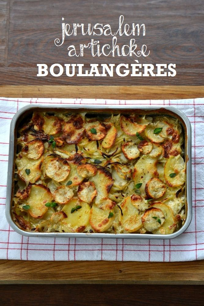 This Jerusalem Artichoke Boulangères is an indulgent vegetarian side dish - slow-cooking creates a deep, savoury flavours in this wonderful root vegetable.