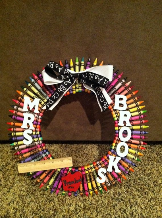 Crayon Wreath 12 Local pickup only by Jan07Mommy on Etsy