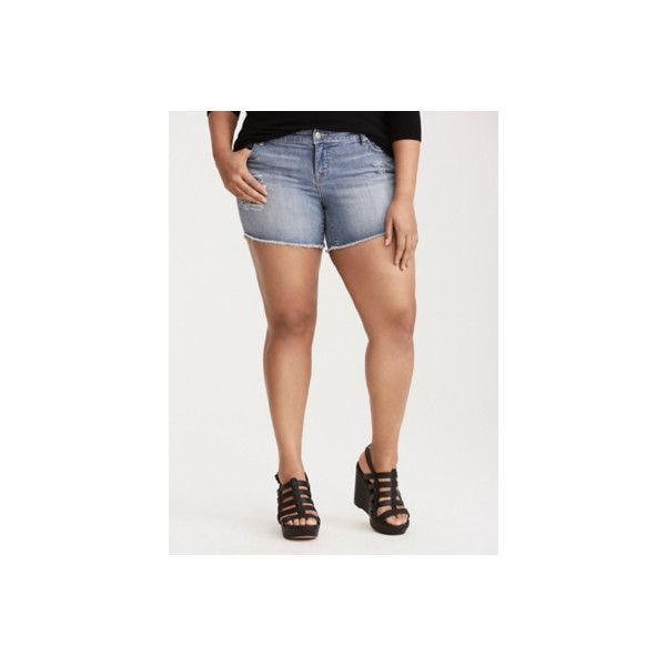 Torrid Skinny Shorts - Light Wash with Ripped Destruction and Frayed... ($29) ❤ liked on Polyvore featuring shorts, blue, plus size, ripped jean shorts, plus size distressed shorts, denim shorts, sexy denim shorts and ripped denim shorts
