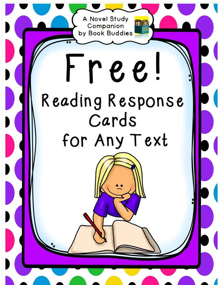 FREE! easy prep reading response cards for any fiction or nonfiction text. These reading response questions are also a great novel study companion for discussion, literacy notebooks and assessment. Cards can be copied on card stock, laminated for durability and placed on rings at literacy centers.