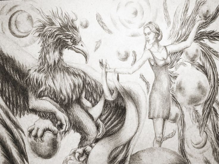 """""""The Griffin's Spheres"""" - graphite on paper / creion grafic pe hârtie"""