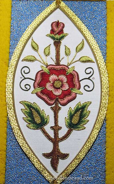 Mission Rose Goldwork: Heavy Outlines in Pearl Purl