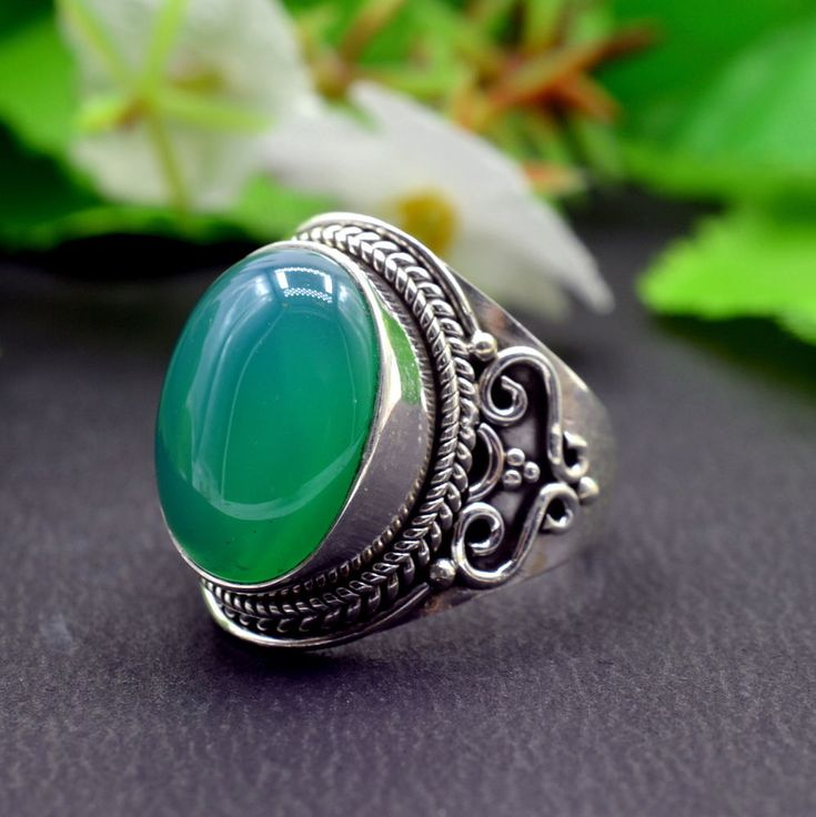 925 Solid Sterling Silver Green Onyx Gemstone Handmade Mens Ring Size 8 US R774 #Handmade #Cluster #Party