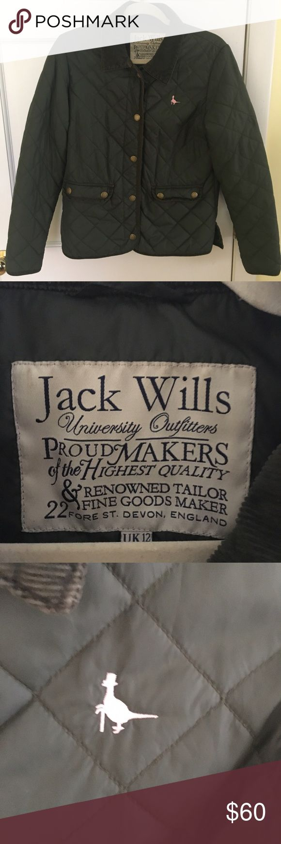 Jack Wills Quilted Jacket Original Jack Wills Quilted Jacket bought in London. Less expensive alternative to Barbour or Burberry but just as cute, trendy and comfortable. Hunter green color and floral lining is super stylish and goes with everything. Perfect condition. Don't miss out! Jack Wills Jackets & Coats