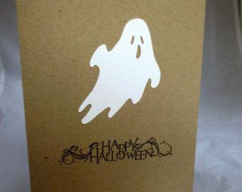 Happy Halloween Card Ghost Card Hand Made Card Handmade Halloween Card Hand Stamped Card Handstamped Card