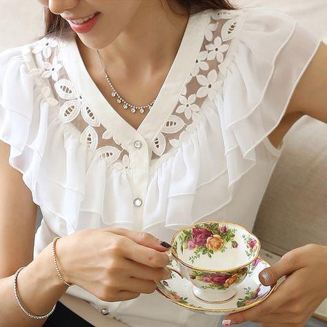Fashion Black/White Short Sleeve women Ruffle lace chiffon blouse feminina camisas femininas blusas roupas blouses shirts-inBlouses & Shirts from Apparel & Accessories on Aliexpress.com | Alibaba Group                                                                                                                                                                                 Más