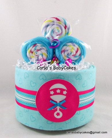 Mini Diaper Cake  Baby Shower Gift  New Baby by MsCarlasBabyCakes