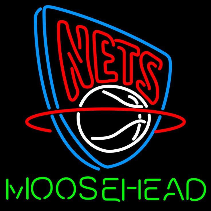 Moosehead New Jersey Nets NBA Neon Beer Sign, Moosehead with NBA Neon Signs | Beer with Sports Signs. Makes a great gift. High impact, eye catching, real glass tube neon sign. In stock. Ships in 5 days or less. Brand New Indoor Neon Sign. Neon Tube thickness is 9MM. All Neon Signs have 1 year warranty and 0% breakage guarantee.
