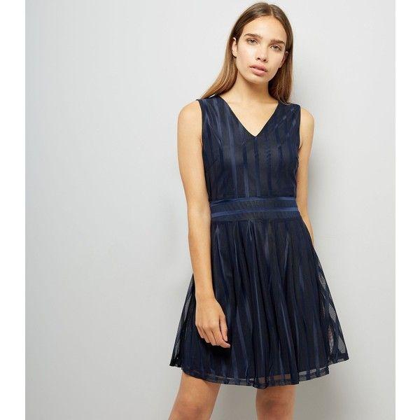 Mela Navy Stripe Shimmer Skater Dress (£26) ❤ liked on Polyvore featuring dresses, navy, navy stripe dress, navy formal dress, navy blue striped dresses, navy striped dresses and striped dresses