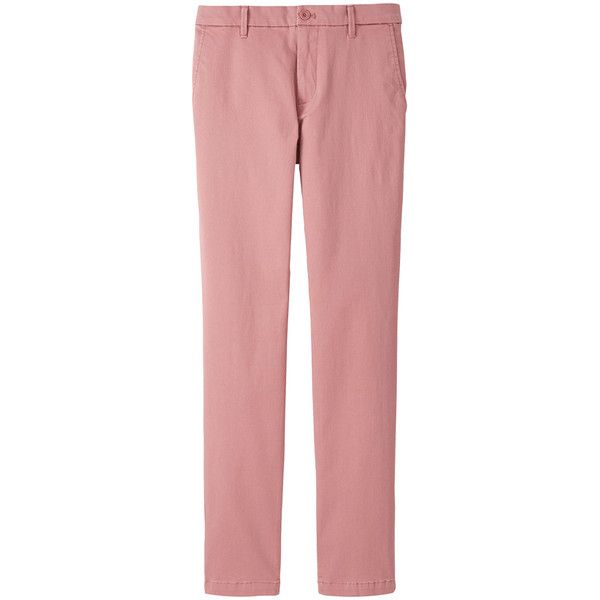 UNIQLO Skinny Fit Chino Trousers (£7.90) ❤ liked on Polyvore featuring men's fashion, men's clothing, men's pants, men's casual pants, pink, mens skinny fit dress pants, mens skinny chino pants, mens pink pants, mens chino pants and mens skinny pants