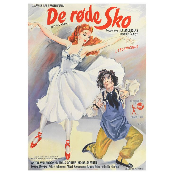 """""""The Red Shoes"""" Original Danish Movie Poster   From a unique collection of antique and modern posters at https://www.1stdibs.com/furniture/wall-decorations/posters/"""