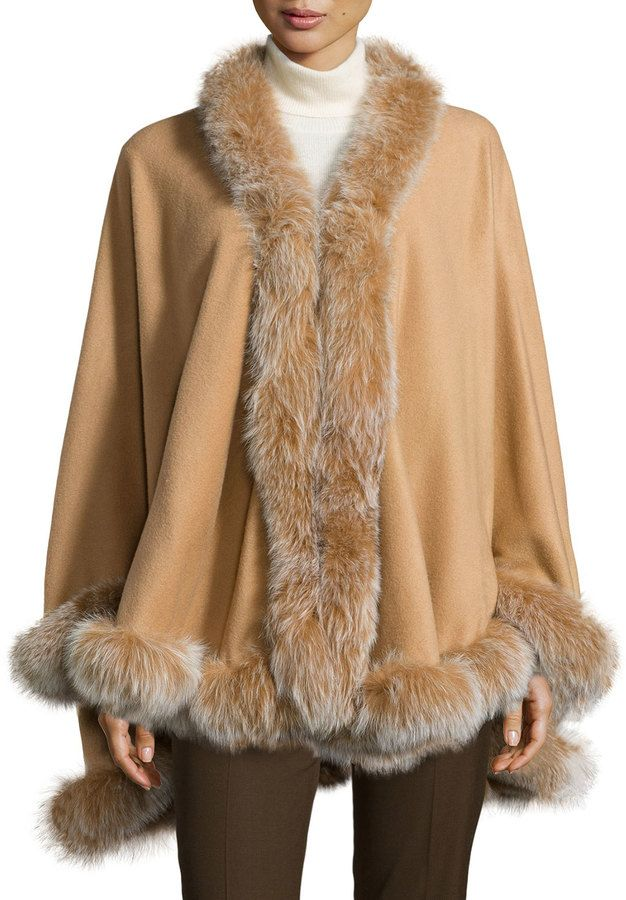 $1,695, Camel Cape Coat: Gorski Cashmere Fox Fur Trim Cape Camel. Sold by Last Call by Neiman Marcus. Click for more info: https://lookastic.com/women/shop_items/149845/redirect