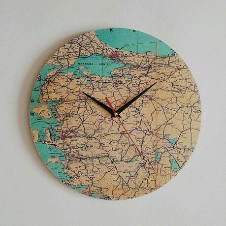 #ahşap #wood #design #painting #map #clock #Turkey #istanbul wallclock