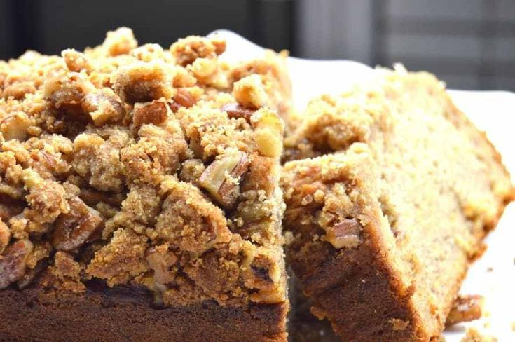 Maple Pecan Streusel Banana Bread is gluten free and low sugar but full of banana flavor... the crunchy pecan streusel topping just pushes it over the top!