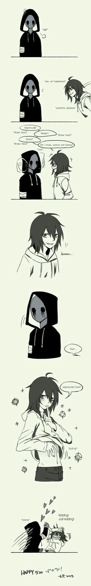 Eyeless Jack, Jeff the Killer, funny, text, comic, yaoi; Creepypasta