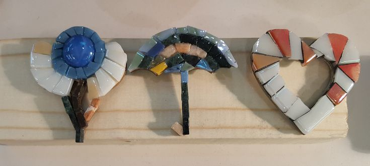 Brooch - glass and marbre mosaic