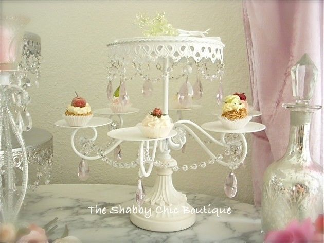 Shabby Crystal Pink Prism White Chic Cupcake Wedding Birthday Cake Display Stand
