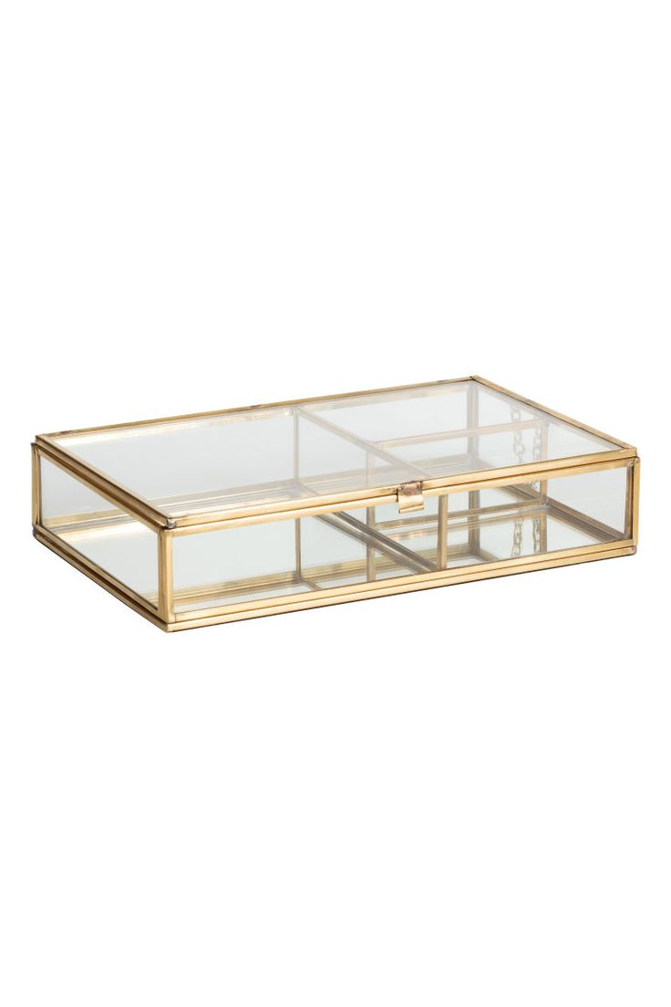 Clear glass jewellery box - Gold - Home All | H&M GB 1