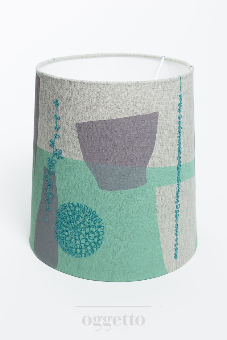 Screen printed and embroidered lampshade by Maxine Sutton | Grey/Green