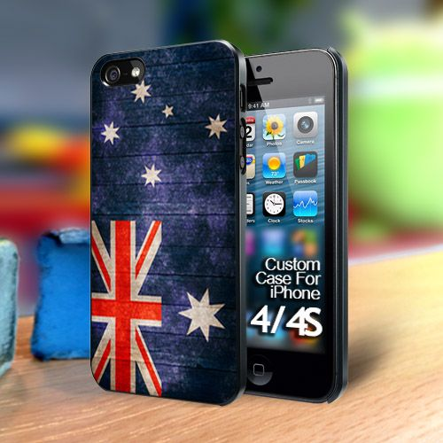 Australian Flag on wood Iphone 4 case | TheYudiCase - Accessories on ArtFire