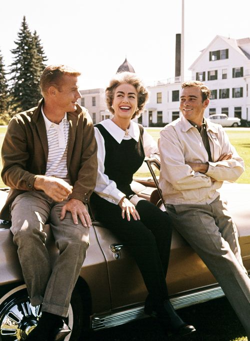 """deforest: """" Joan Crawford with Martin Milner and Glenn Corbett on the set of Route 66, 1963 """""""