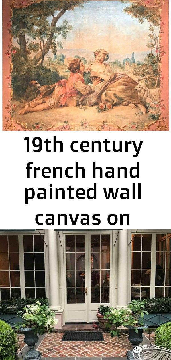 19th Century French Hand Painted Wall Canvas On Stretcher Titled La Musette Hand Painted Walls Wall Painting
