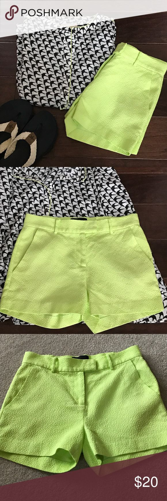 Neon Textured Shorts Adorable and trendy bright green or bright yellow shorts by Cynthia Rowley. Very gently used shorts feature front pockets, double hook and and eye closure, and fun textured pattern. Not lined, but not see-through. Run a bit on the smaller side. From a smoke free and pet free home. {neon green, neon yellow, spring, summer, texture, highlighter, EUC, excellent used condition} Cynthia Rowley Shorts