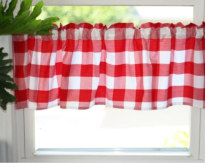 1 Red And White Buffalo Check Tie Up Shade Designer Valance Etsy Tie Up Shades Home Decor Design