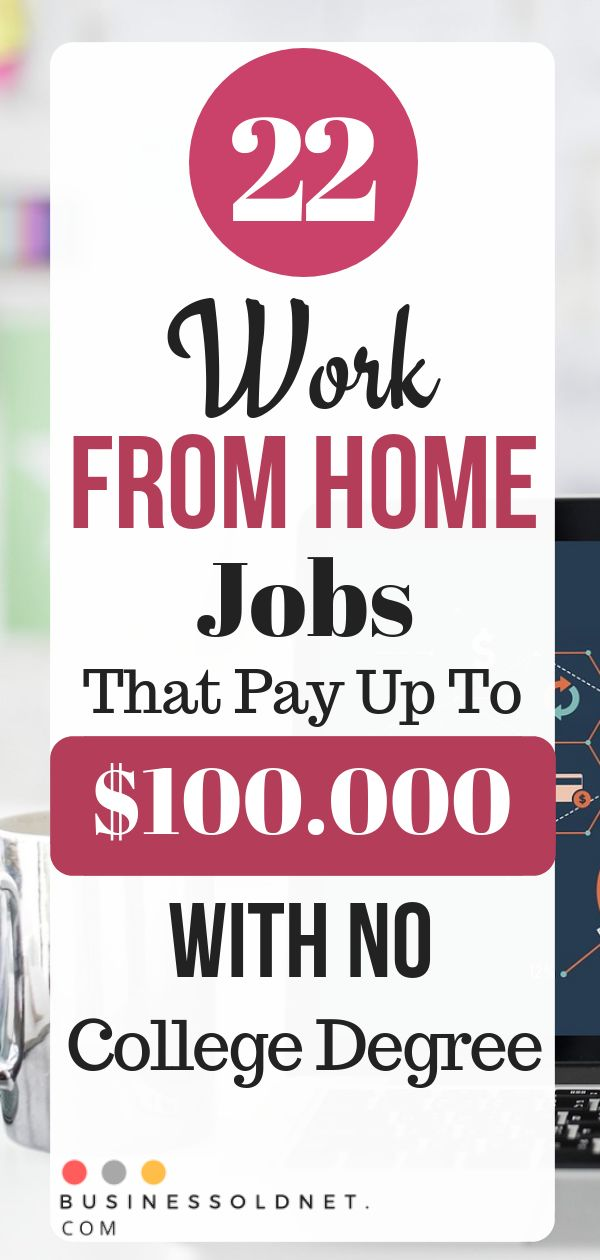 22 Work From Home Jobs That Pay Up To $100.000 With No College Degree