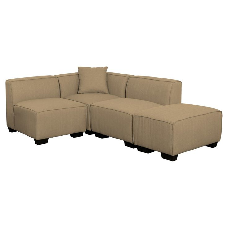 lida 4 piece beige sectional chaise set corliving
